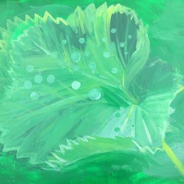 Green Leaf with Dew Drops, acrylic on board, 20 by 18 in. Emilia Kallock 2019