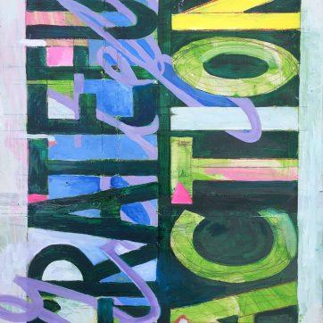 Grateful Action, oil on repurposed wood board, 24 by 18 in. Emilia Kallock, 2019
