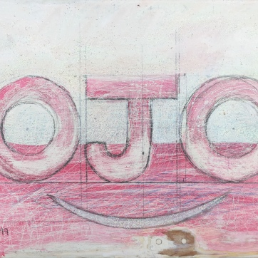 Ojo, glitter, acrylic and pencil on kitchen cabinet, 8 by 10 in. Emilia Kallock, 2019