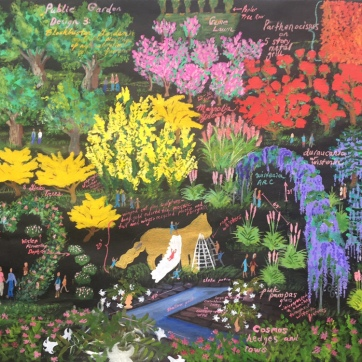 Blockbuster Garden Design Painting, acrylic on roofing paper, 35 by 43 in. Emilia Kallock, 2010