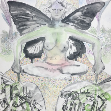 Untitiled (Butterfly Girl) watercolor on paper, 24 by 18 in. Emilia Kallock, 2019