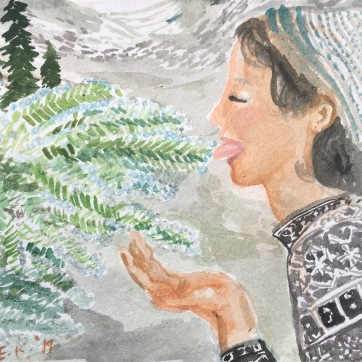 Tasting Dew on Mountain Fir Tree, watercolor and glitter on paper, 5 by 6 in. Emilia Kallock, 2019