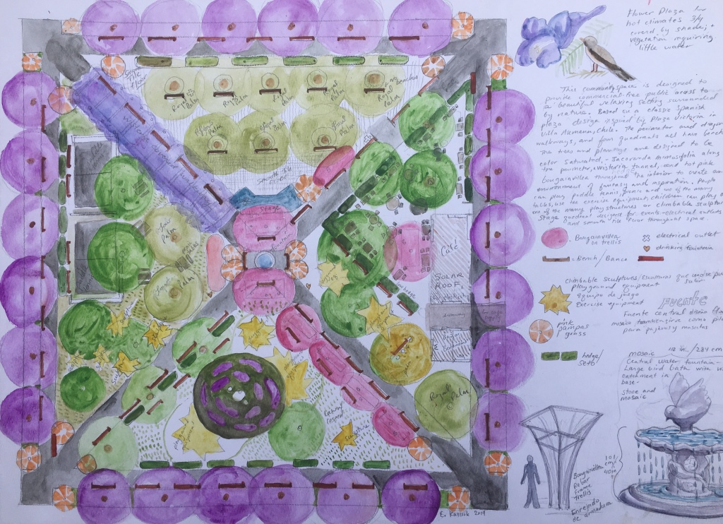The purpose of this image is a design for a lush beautiful public garden following classic South American Colonial square plaza design. Brightly colored flowering trees and shrubs grace this park, so people can have a tranquil color therapy of sorts.
