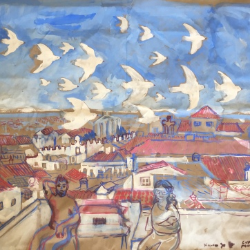 Evora, Portugal, Doves in Flight, tempera on brown paper, 30 by 30 in. Emilia Kallock, 2019