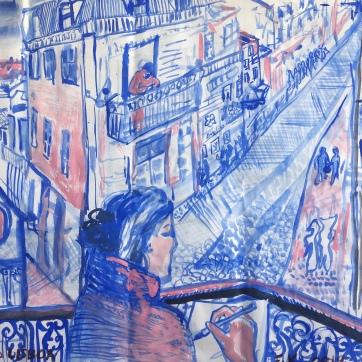 Barrio Alto, Portugal, tempera on paper, 18 by 24 in. Emilia Kallock, 2019