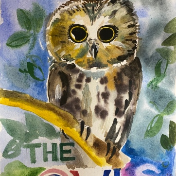 The Owls Classroom Sign, watercolor on paper, 8 by 6 in. Emilia Kallock 2020