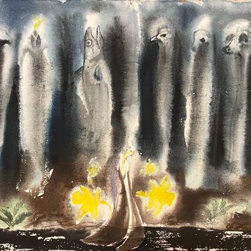 The Spirits Are Talking With Us Now (Plants and Animals), watercolor on paper, 20.5 by 26 in. Emilia Kallock, 2020