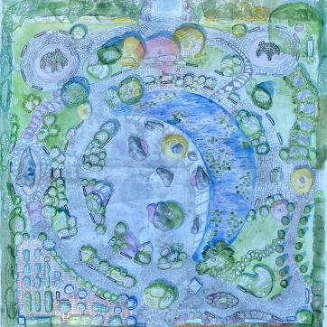 Moon Garden, 55 by 55 in. watercolor and pencil on wallpaper, Emilia Kallock, 2020