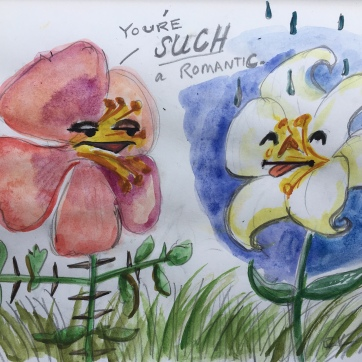 You're SUCH a Romantic, watercolor and pencil on paper, 8 by 11 in. Emilia Kallock, 2020