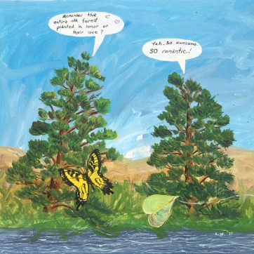 Pine Tree Conversation, 17 by 19 in. acrylic on board, Emilia Kallock, 2020