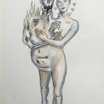 Ego Conversation, pencil and watercolor on paper, 10 by 8 in. Emilia Kallock, 2020