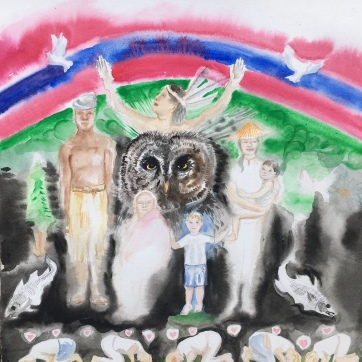 Untitled, (Owl, Hope, Acknowledgement and Ghosts) watercolor on paper, 24 by 24 in. Emilia Kallock, 2020