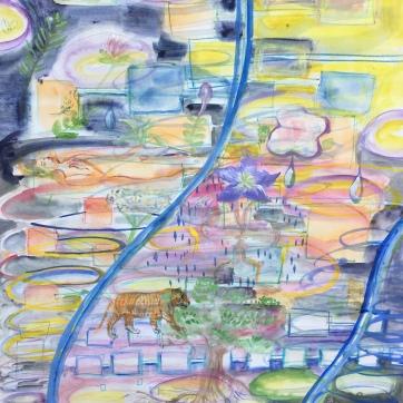 Water Romance, watercolor on paper, 24 by 16 in. Emilia Kallock, 2020