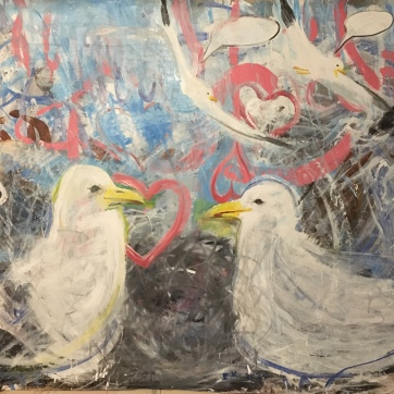 Seagulls, Romance, Painting, acrylic on paper, 55 by 65 in. Emilia Kallock, 2020