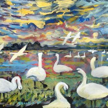 Swans in the Evening, oil on board, 18 by 24 in. Emilia Kallock, 2020