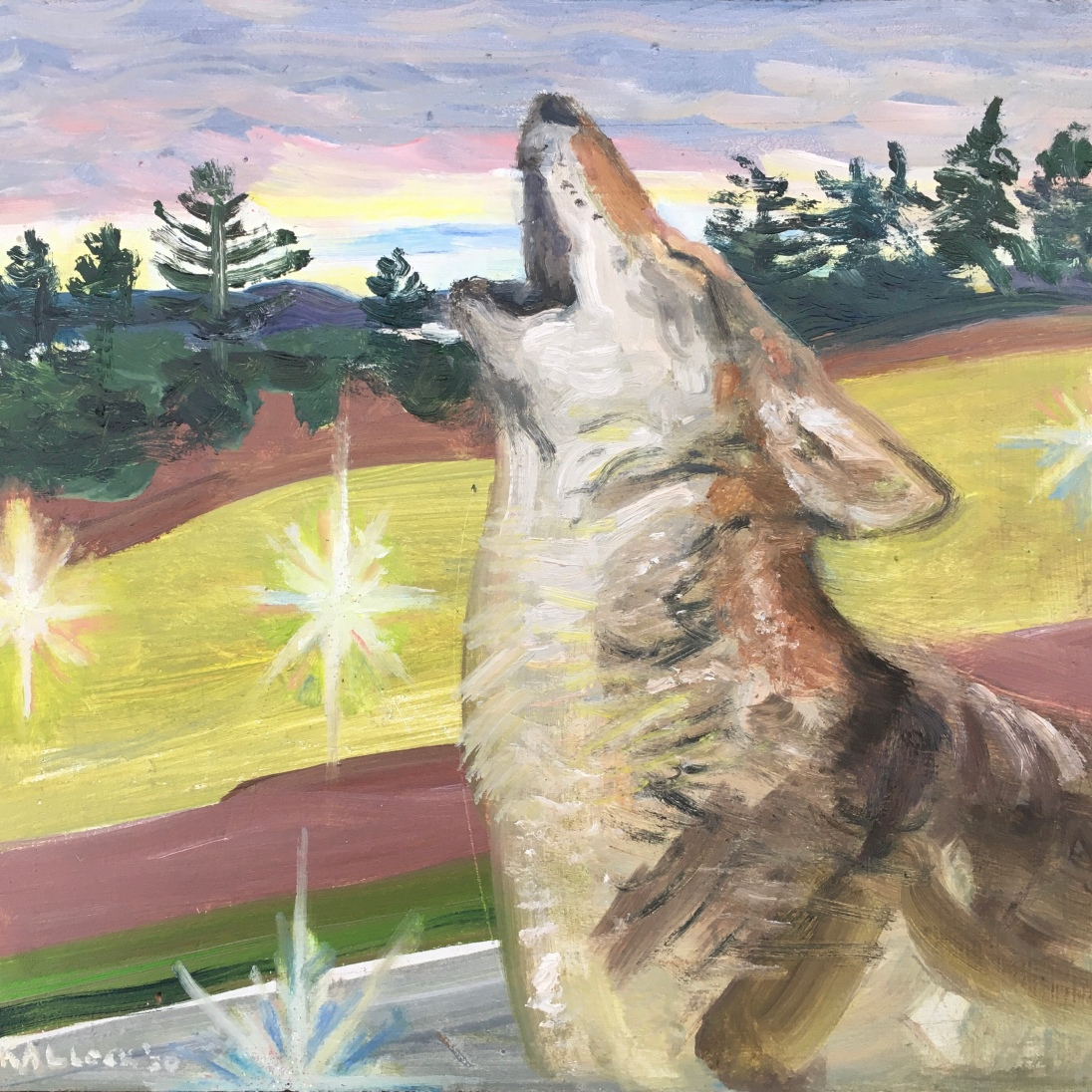 Coyote on the Land Between the Two Rivers: Stillaguamish and Skagit, oil and glitter on board, 6 by 7 in. Emilia Kallock, 2020