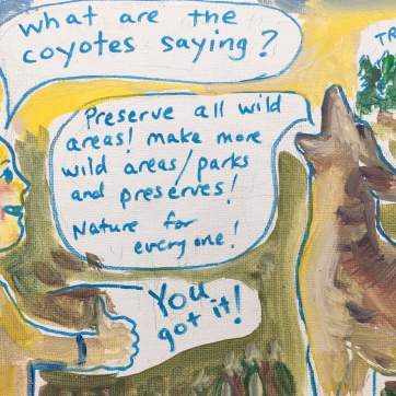 Coyote Cartoon, acrylic and marker on canvas, 7 by 9 in. Emilia Kallock, 2020