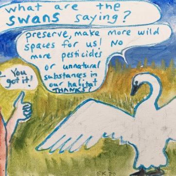 Swan Cartoon, acrylic and marker on canvas, 7 by 9 in. Emilia Kallock, 2020