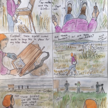 Estuary Cartoon 3, watercolor and pen on paper, 8 by 10 in. Emilia Kallock, 2020