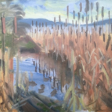 Turtle Island (Estuary Painting), oil on canvas, 7 by 9 in. Emilia Kallock, 2020